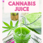 A pitcher pouring green cannabis juice into a small glass