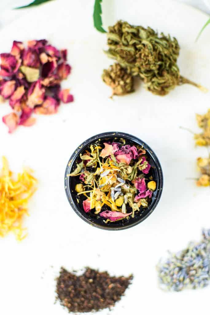 Cannabis Tea in Grinder