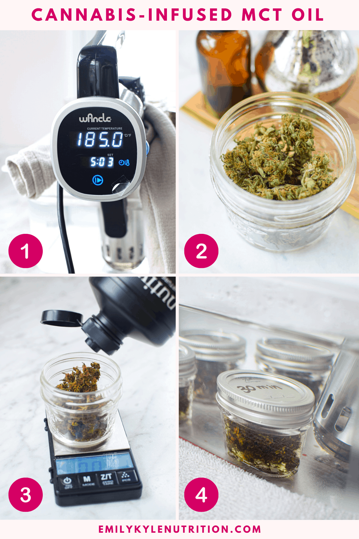 4 step collage showing how to make cannabis-infused MCT Oil