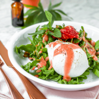 Cannabis Strawberry Vinaigrette with Burrata Salad