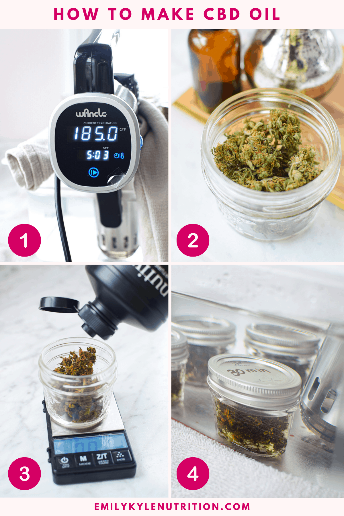 4 picture collage showing how to make CBD oil