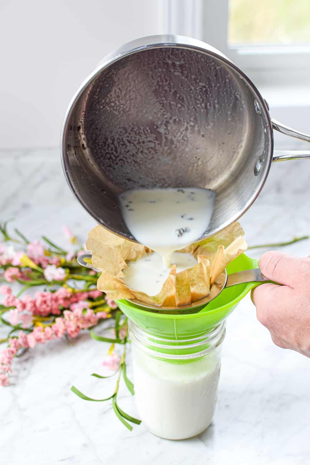 Straining Cannabis Milk or Cream