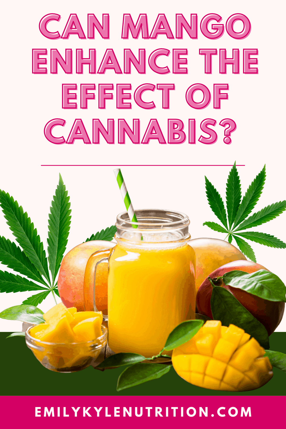 A pink background with pink text stating Can Mango Enhance the Effect of Cannabis? with a glass of mango juice, whole mangos, and freshly cut mangoes