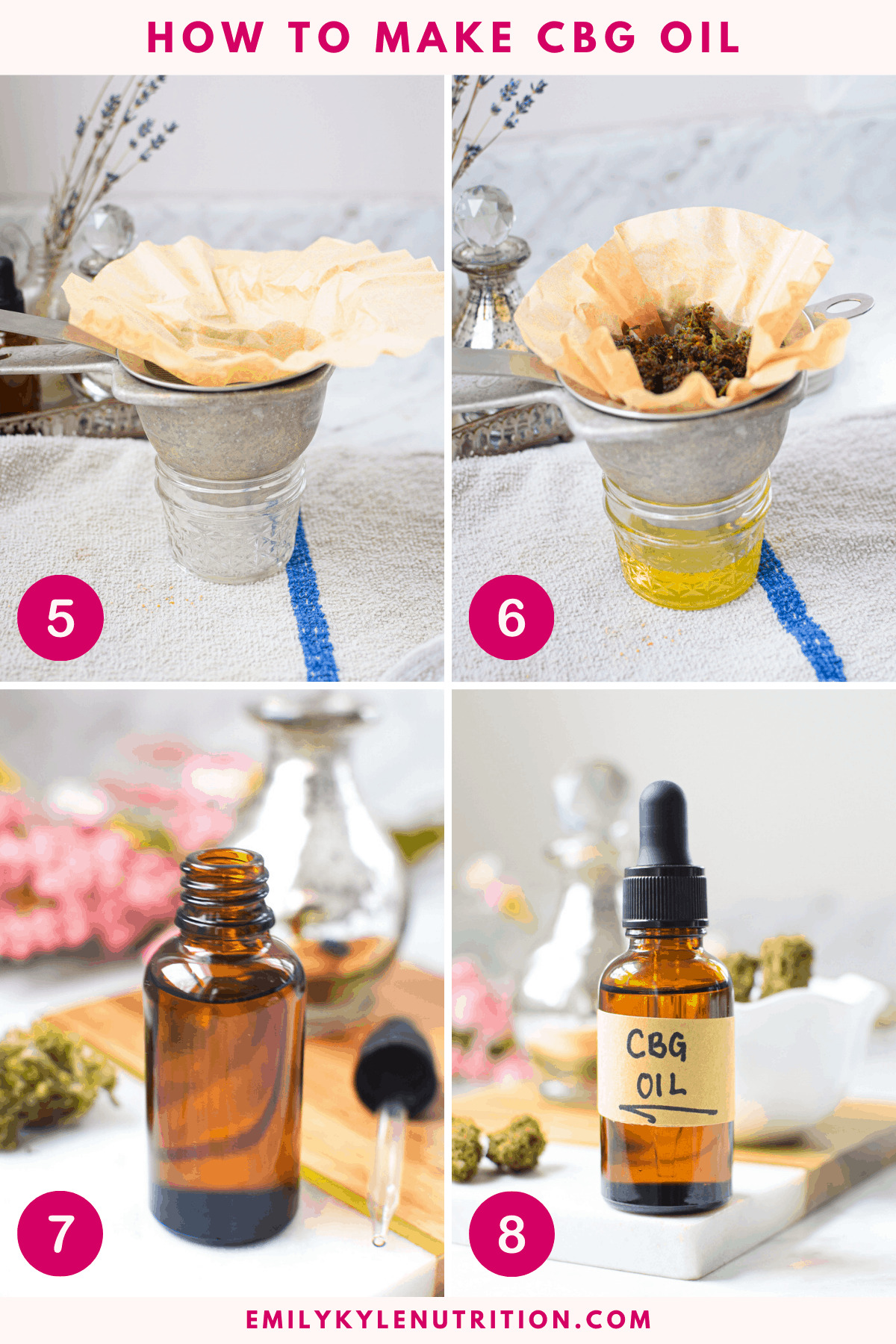 4 Step Collage Showing Image For How to Make CBG Oil