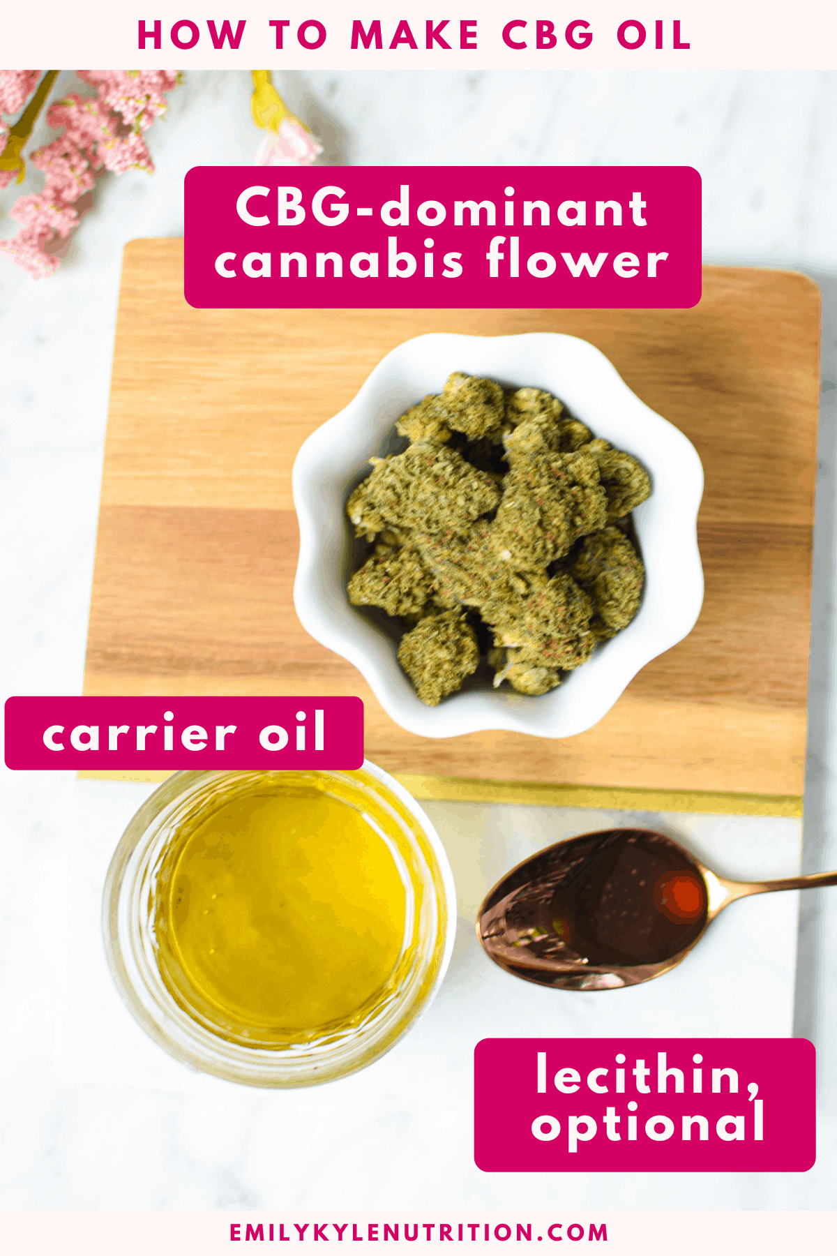 How To Make CBG Oil Ingredients collage including cbg flower, a carrier oil, and optional sunflower lecithin