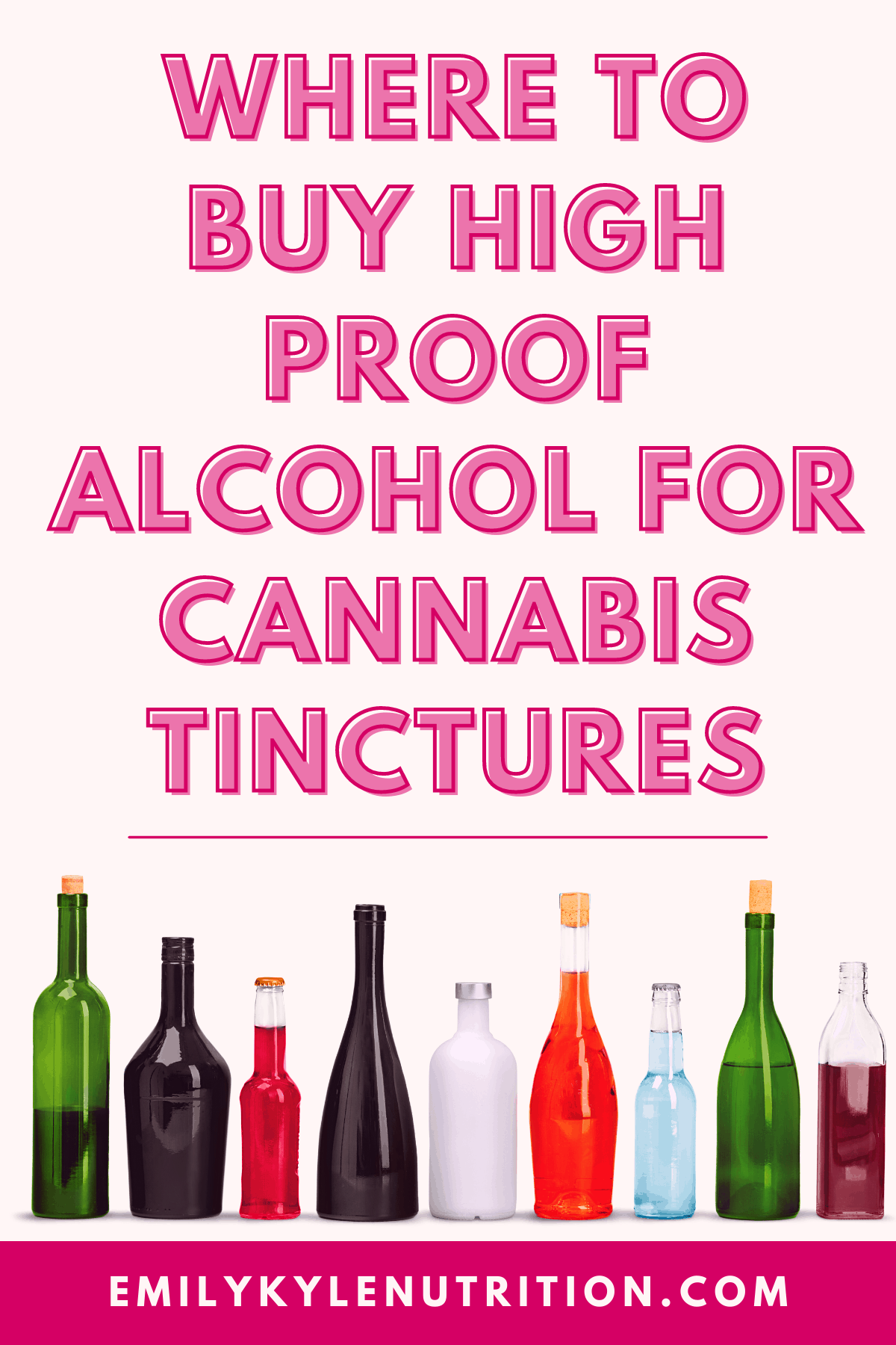 An image of alcohol bottles with the written words Where To Buy High Proof Alcohol For cannabis Tinctures