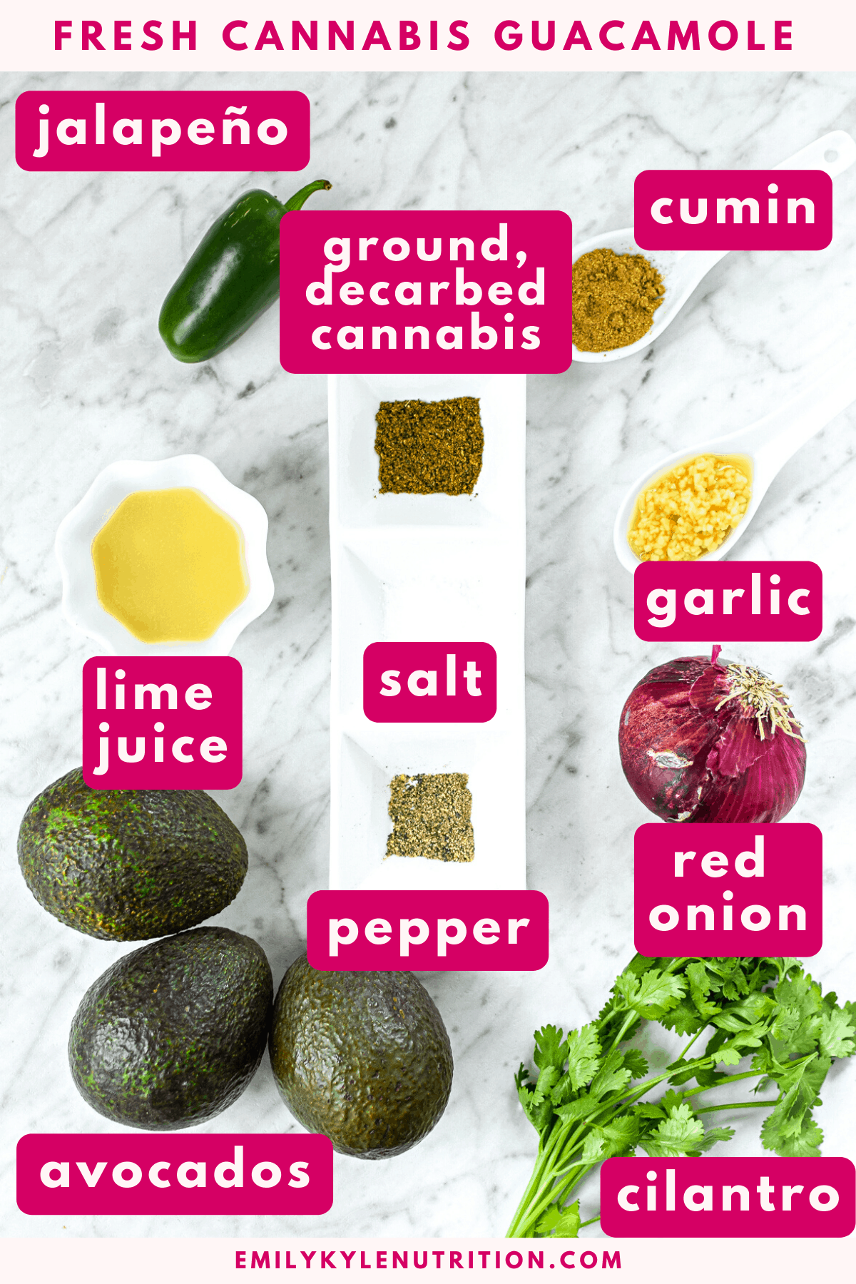 A picture of ingredients listed in pink needed to make guacamole including avocado, lime juice, jalapeño