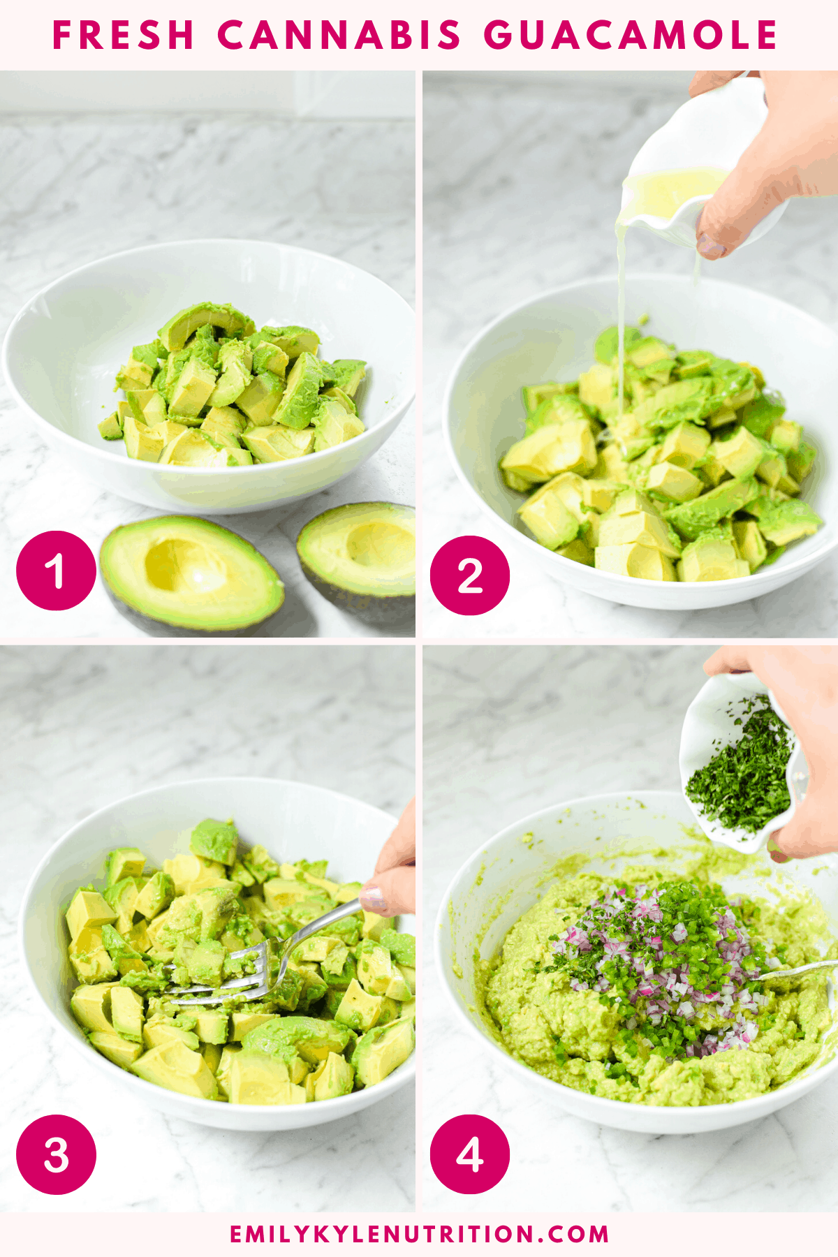 Four images in a collage put together to show you how to make cannabis infused guacamole