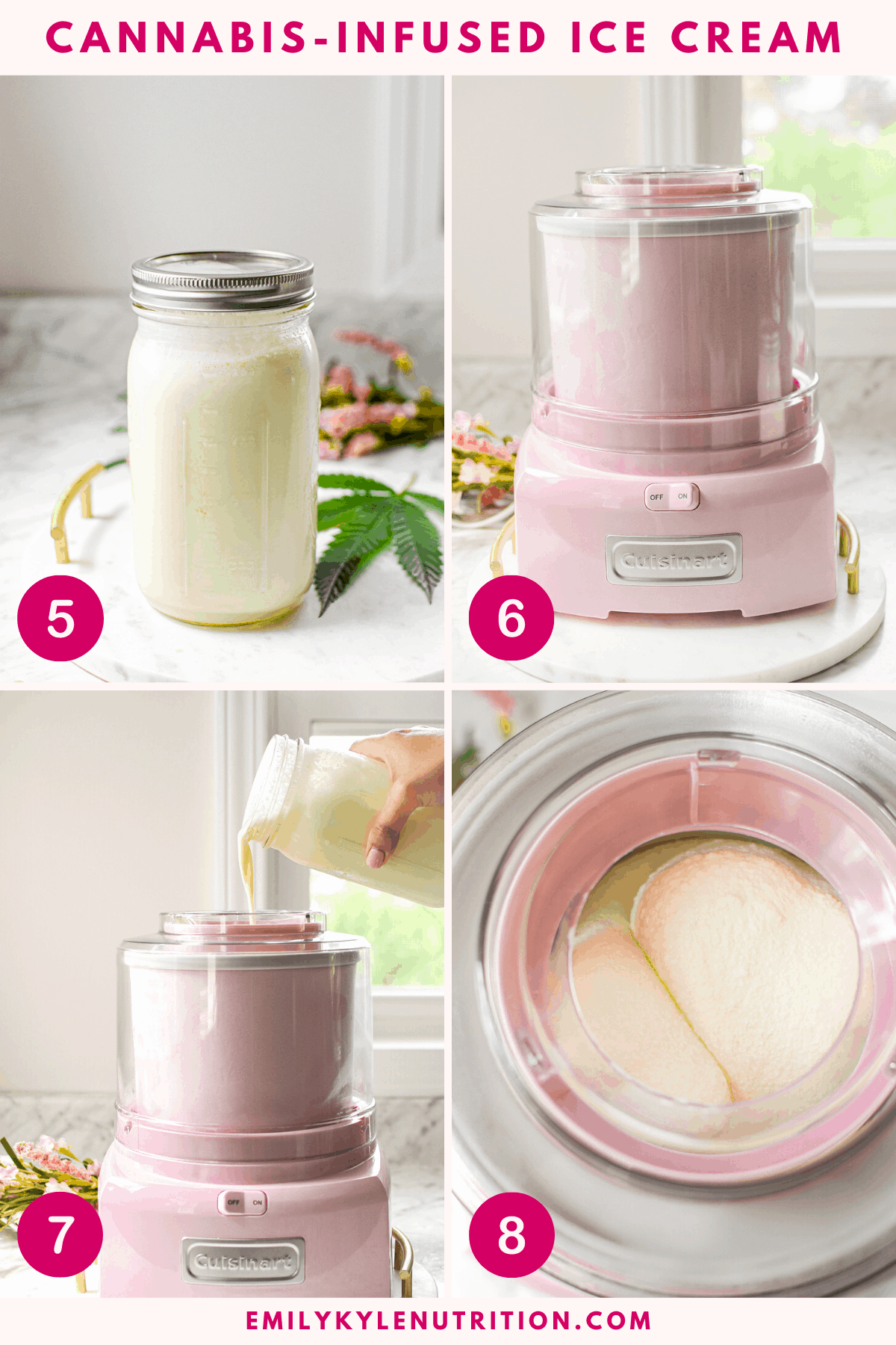 A collage shot of steps 1-4 showing how to make cannabis ice cream