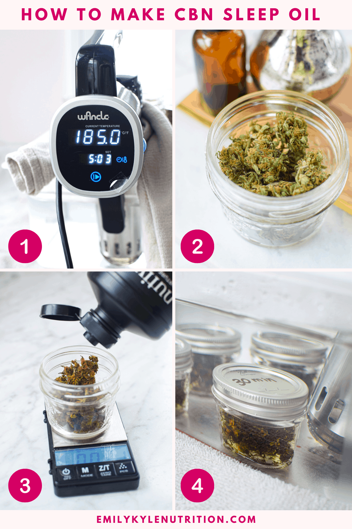 4 step collage showing how to make cannabis-infused CBN Oil