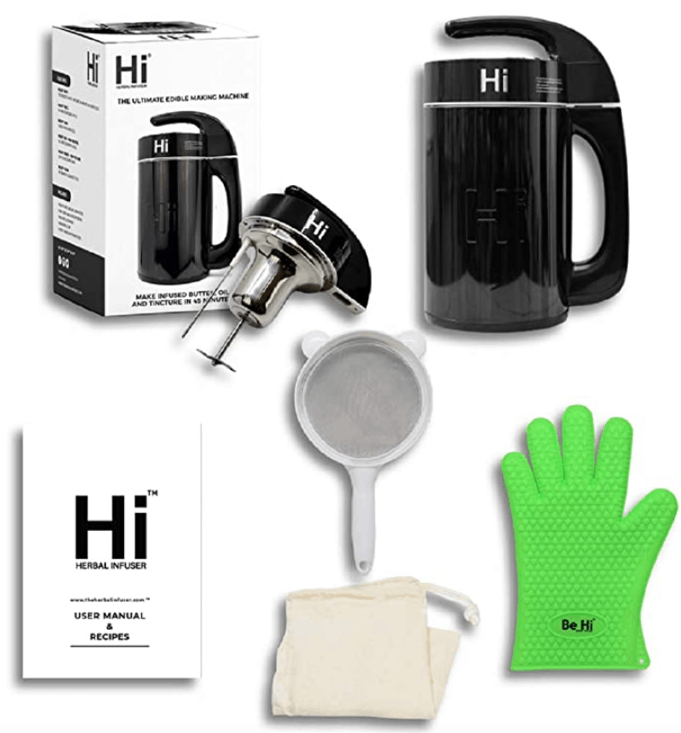An image of the Herbal Infuser Machine and all of the accessories that come with it including silicone mitts
