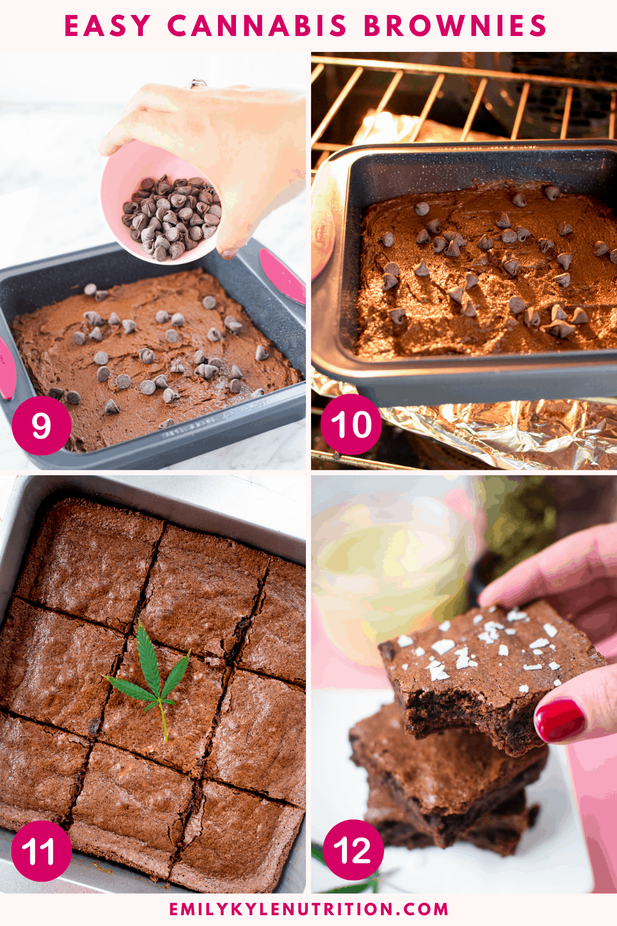 A 4 step collage showing the final 4 images of how to make cannabis brownies including adding chocolate chips, baking in the oven, cutting into squares, and enjoying.