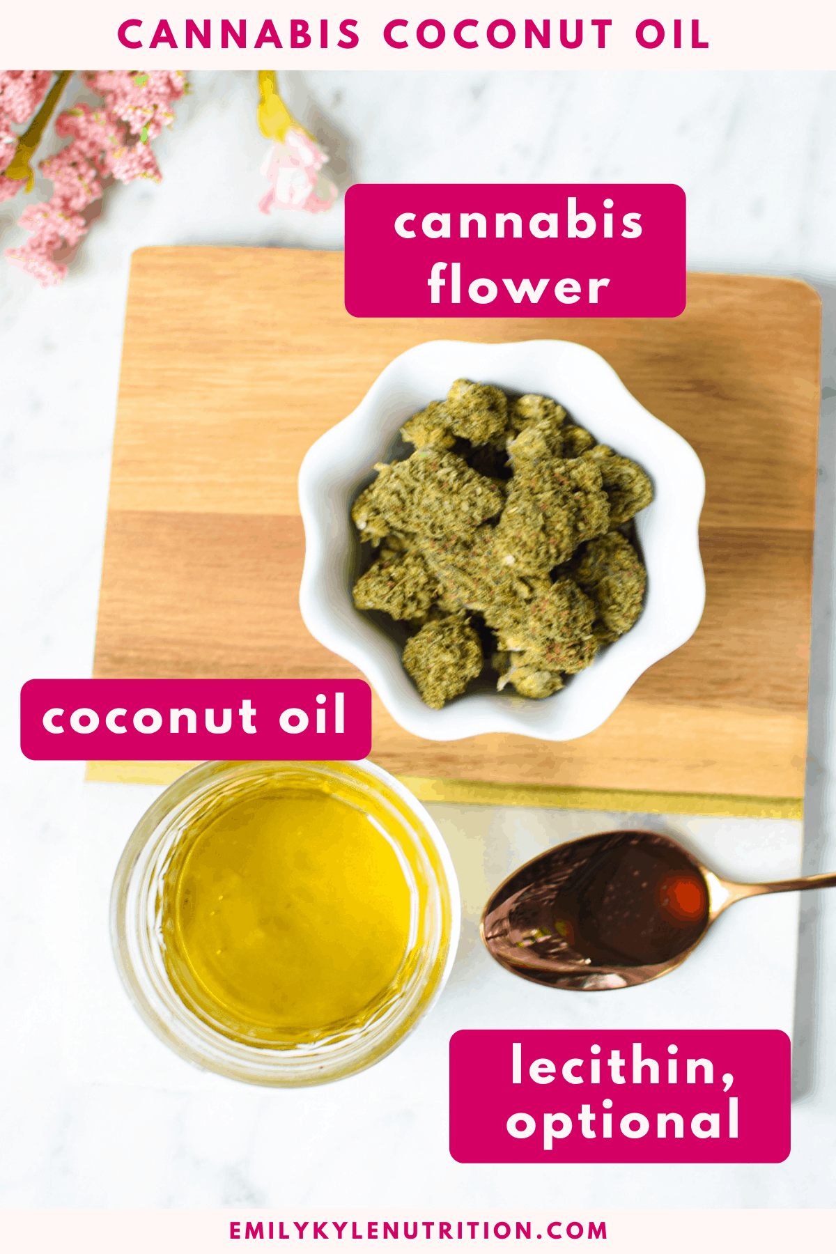 A white marble counter top with a jar of cannabis flowers, a container of coconut oil, and a spoonful of lecithin