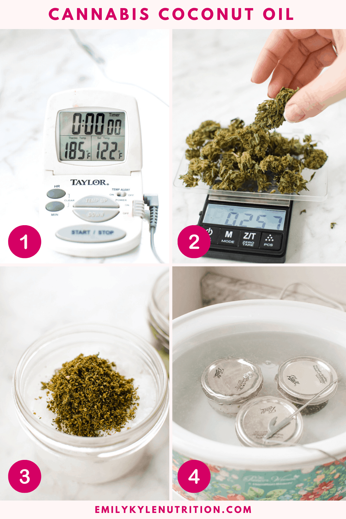 A collage image of four photos showing the first four steps of setting up the process including a thermometer at 185 degrees, measuring the flower with a scale, adding it to the coconut oil, and putting it in the water bath.
