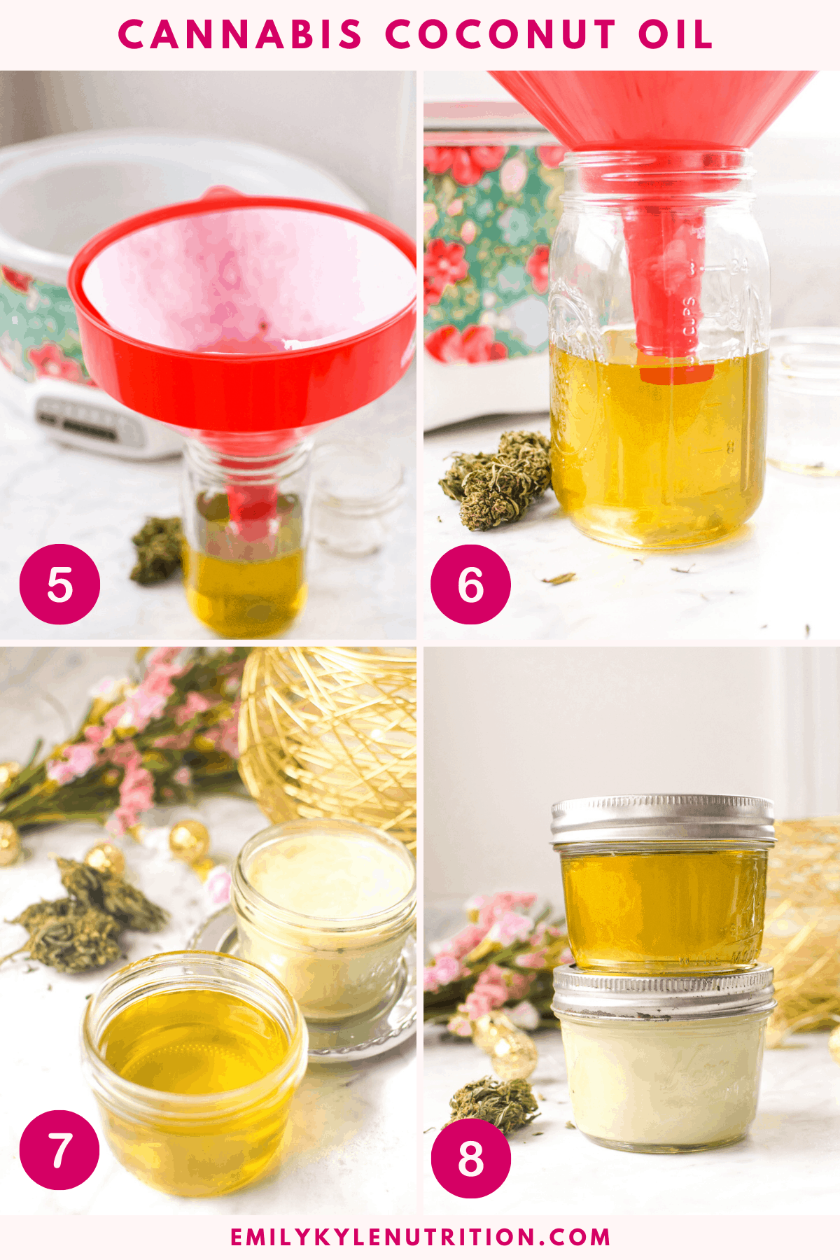 A 4 step collage showing a jar of oil for straining, the strained oil with a funnel in it, a final product shot of liquid coconut oil and hardened coconut oil