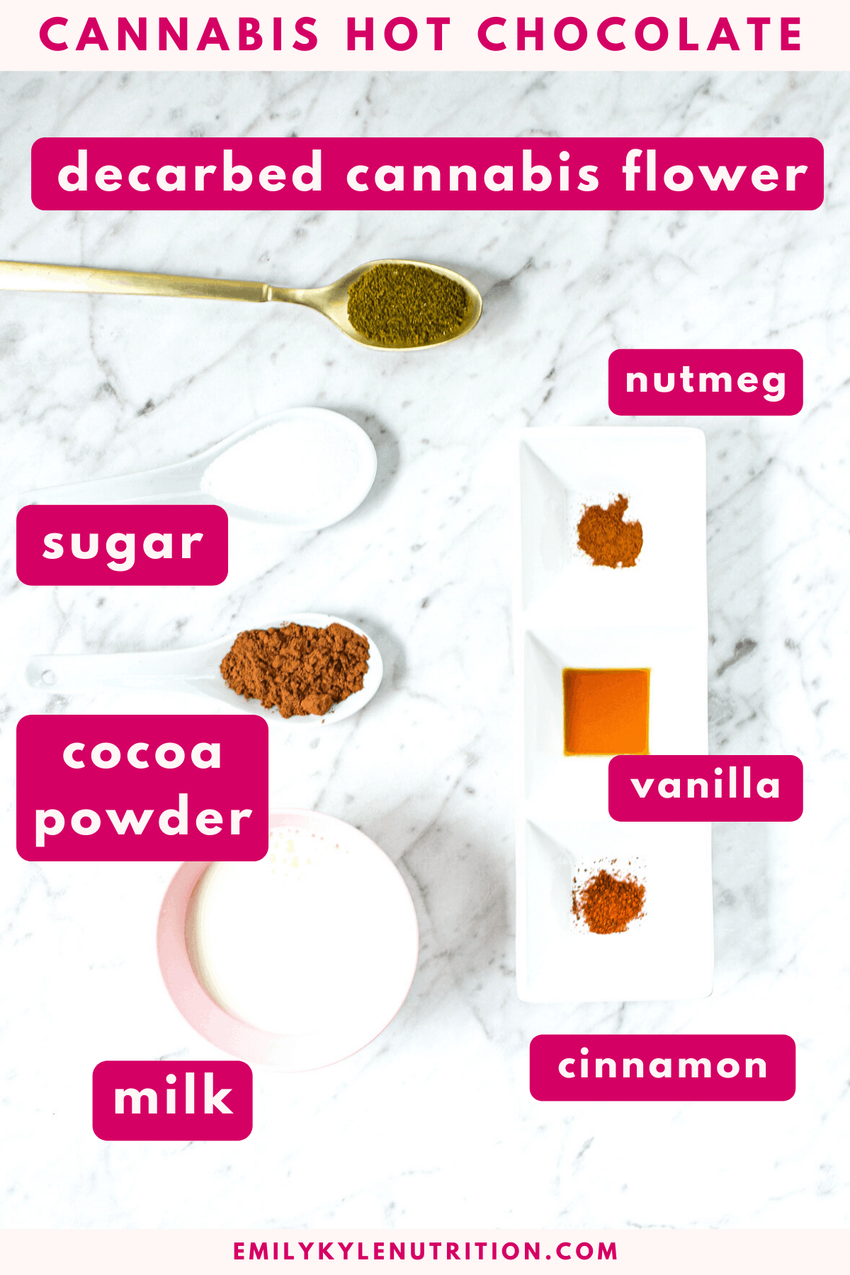 A white countertop with the ingredients needed to make cannabis hot chocolate including decarbed cannabis flower, sugar, cocoa powder, milk, nutmeg, vanilla and cinnamon
