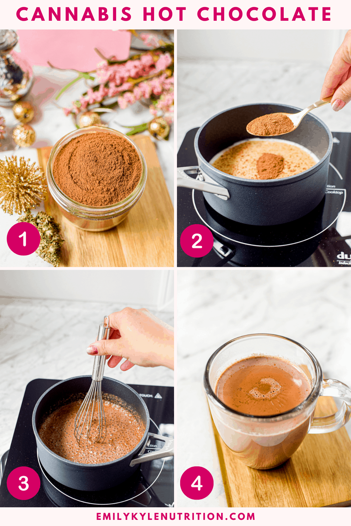 A 4-image collage showing how to make cannabis hot chocolate including the mix, adding the mix to milk in a saucepan over medium heat, whisking well, and the cocoa in a clear mug for the final shot