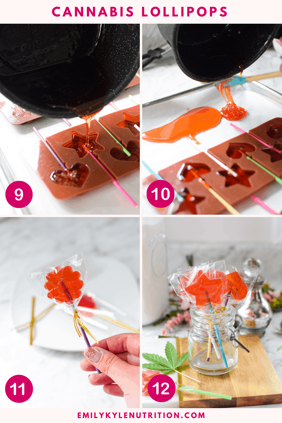A 4 step collage showing the final 4 steps in making cannabis lollipops including pouring the syrup into molds, pouring extra on a baking sheet, putting the suckers in plastic bags, and a finished image of all suckers in a mason jar