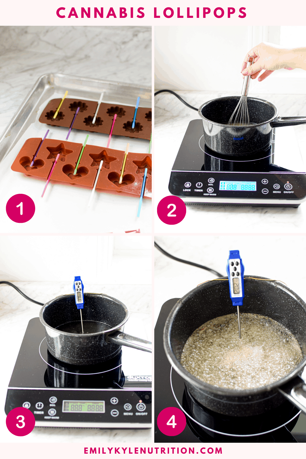 A 4 step collage showing the first four steps in making lollipops. 1- setting up your work station, 2 - stirring the ingredients, 3- the pan at 260
