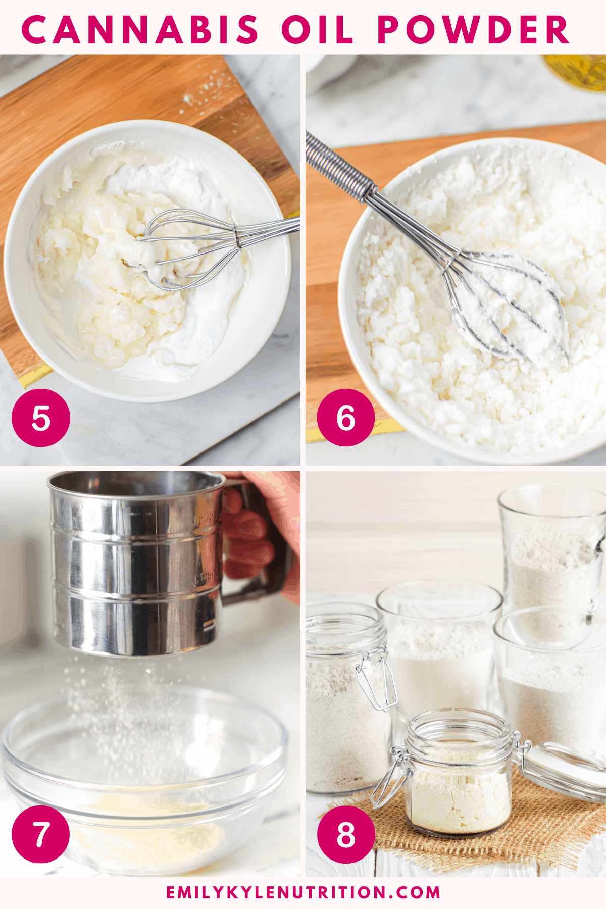 A 4 step collage showing the mixing of the maltodextrin powder, running it through a sifter, and the final product.