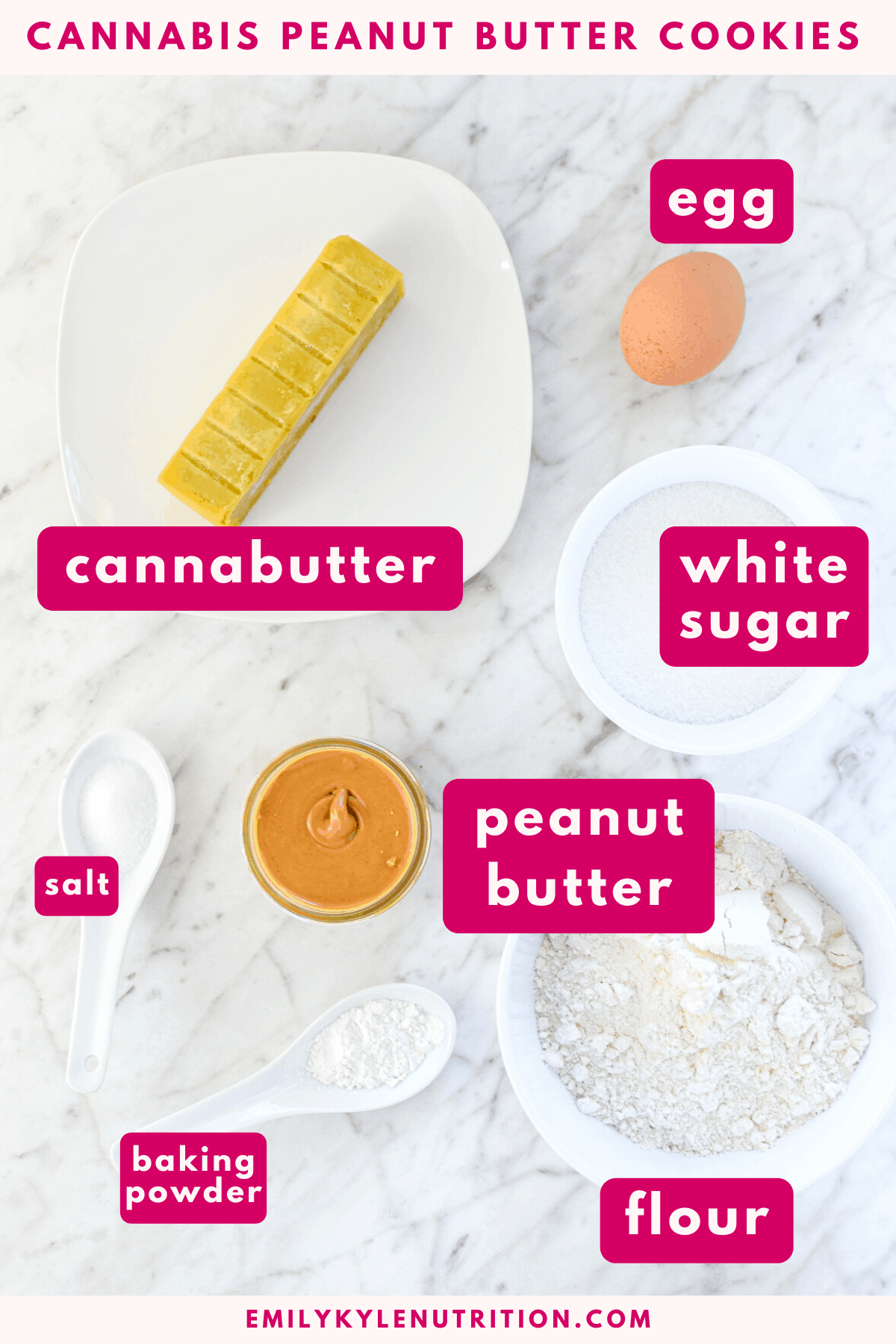 A white countertop with the ingredients needed to make peanut butter cookies including cannabutter eggs, white sugar peanut butter, flour, baking powder and salt