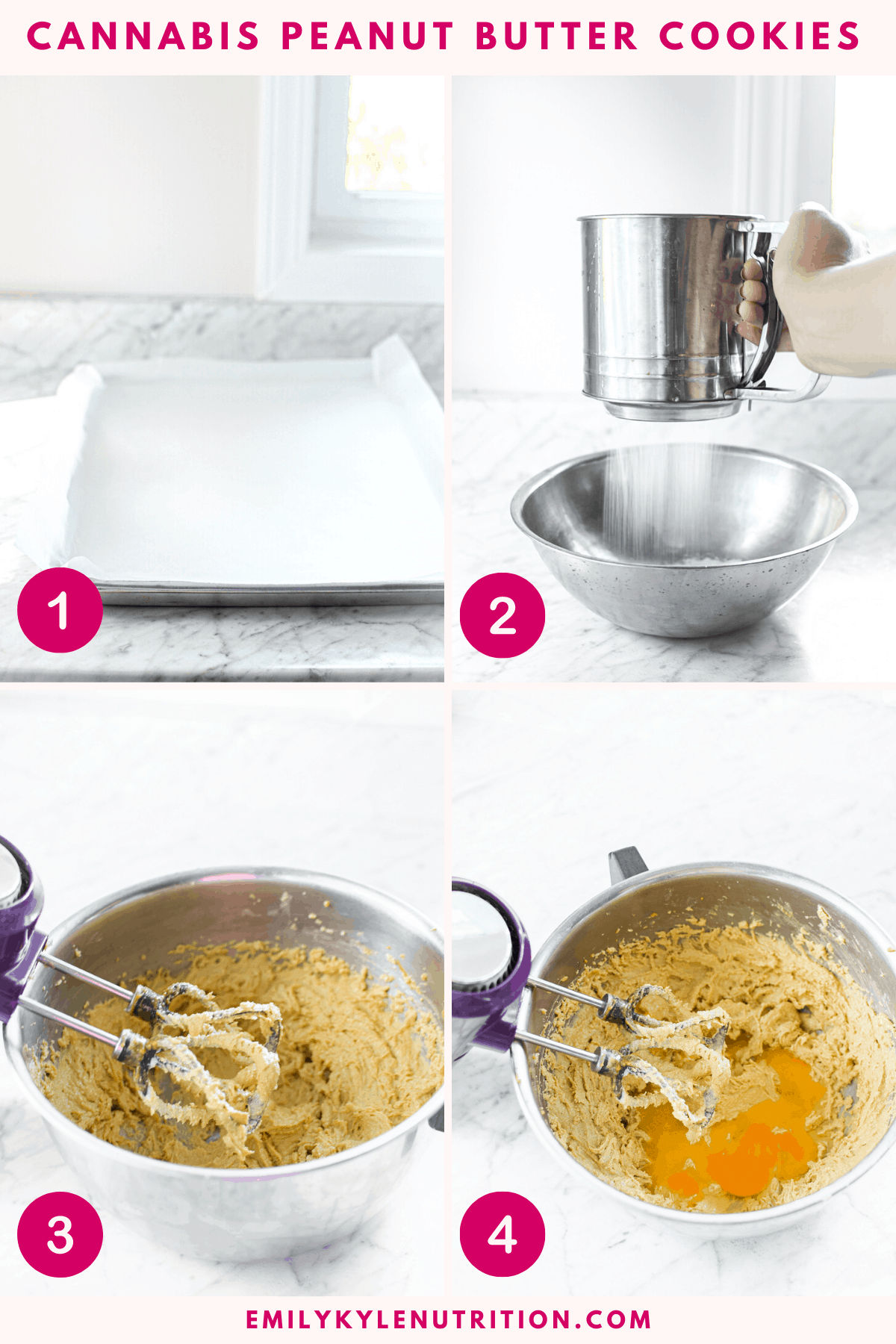 A 4 step image collage of the first four steps in making cannabis peanut butter cookies including a baking sheet, sifting the flour, creaming the butter and peanut butter and adding the eggs