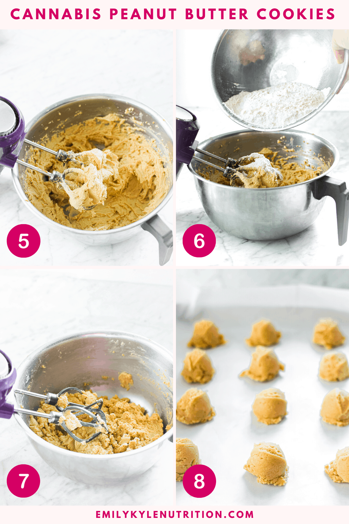 A collage images showing steps 5-8 for making cannabis peanut butter cookies including adding the flour to the dough and scooping it out into balls