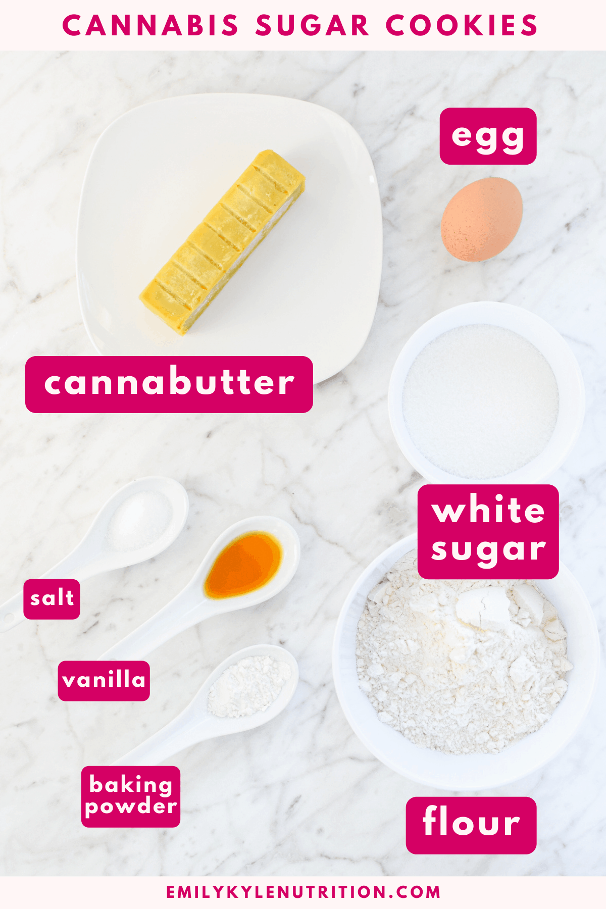 A white marble countertop with the ingredients needed to make cannabis sugar cookies including cannabutter, white sugar, egg, salt, vanilla, baking powder and flour