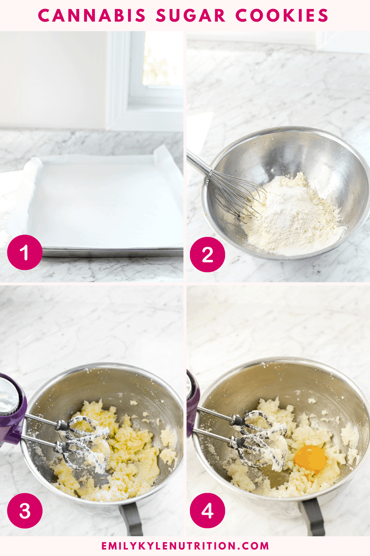 A four step collage showing the first four steps to making cannabis sugar cookies including a lined baking tray, the dry ingredients in a bowl, creaming together the butter and sugar, and adding an egg