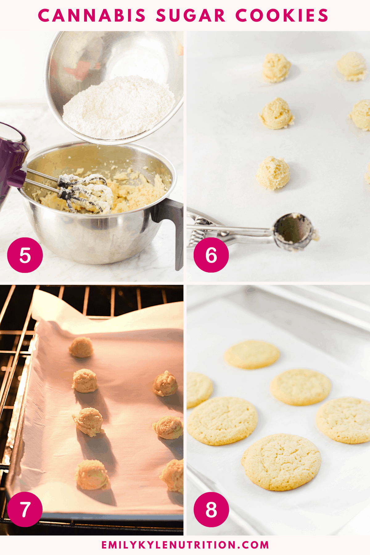 A collage of images showing steps 5-9 for making cannabis chocolate chip cookies including beating the ingredients, sifting the dry ingredients in, beating again, scooping out the dough, baking in the oven, and the final product.