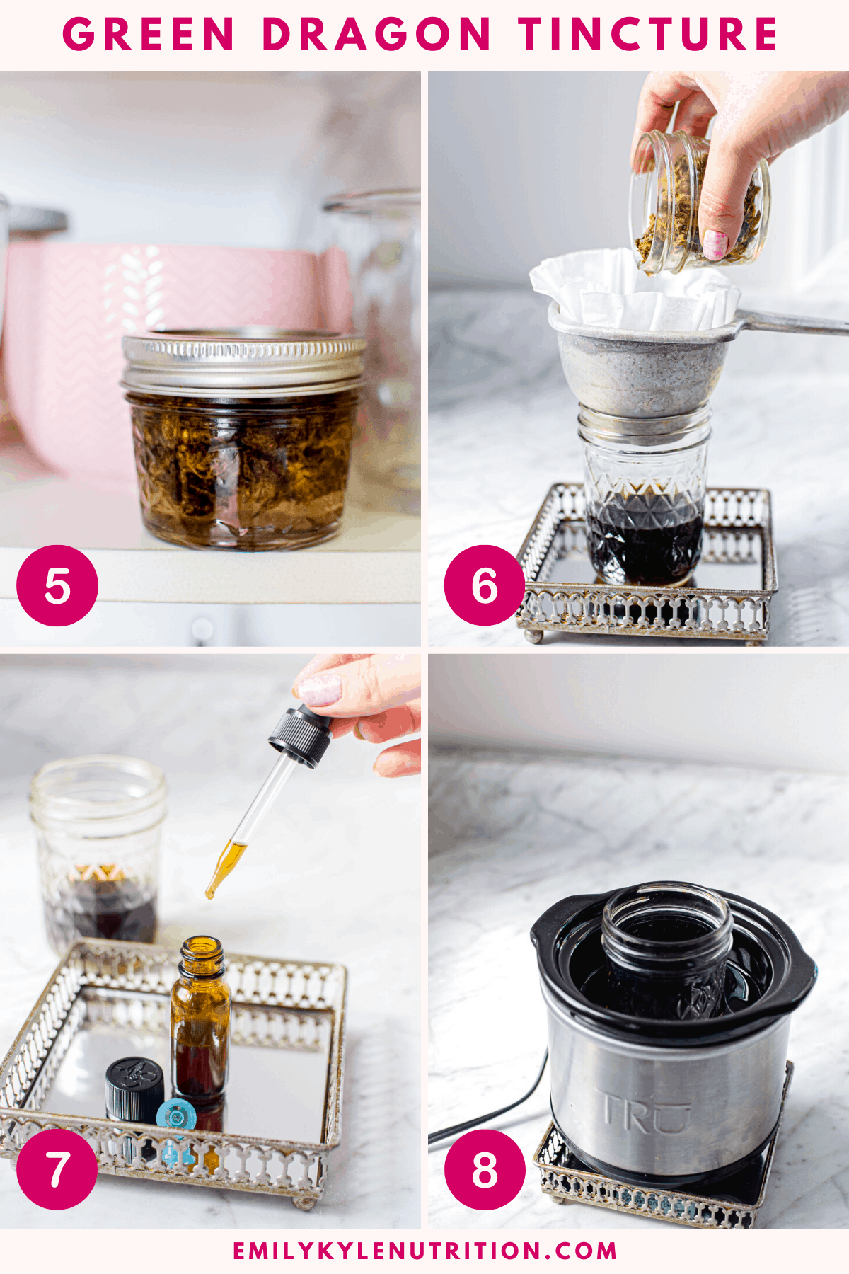 A 4 step image collage showing how to put the jar in a cupboard, then straining through a coffee filter, a image of the amber tincture bottle with a hand holding the dropper, and a white countertop with a mini crockpot with the tincture glass inside.