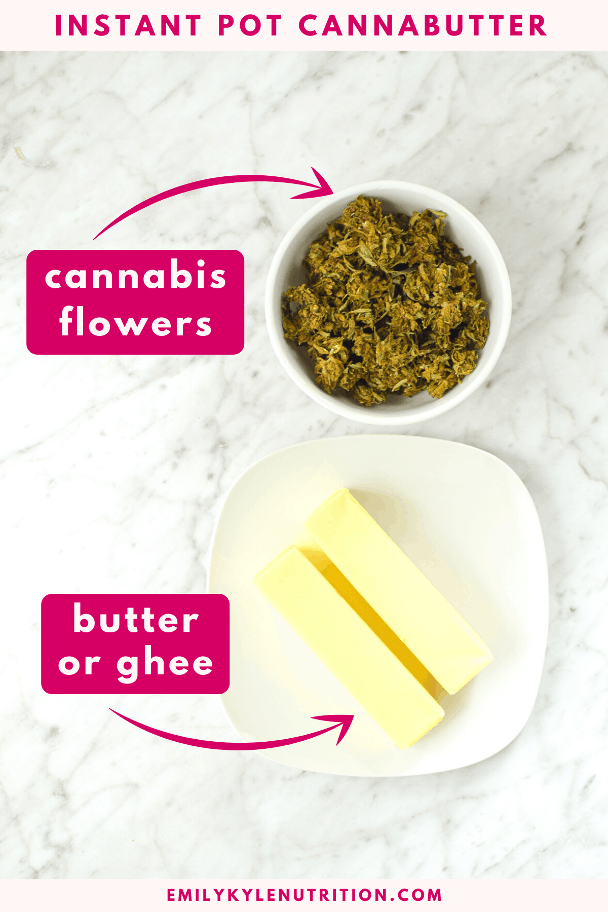 A white counter top with a bowl of cannabis and a plate of butter describing the ingredients used to make cannabutter
