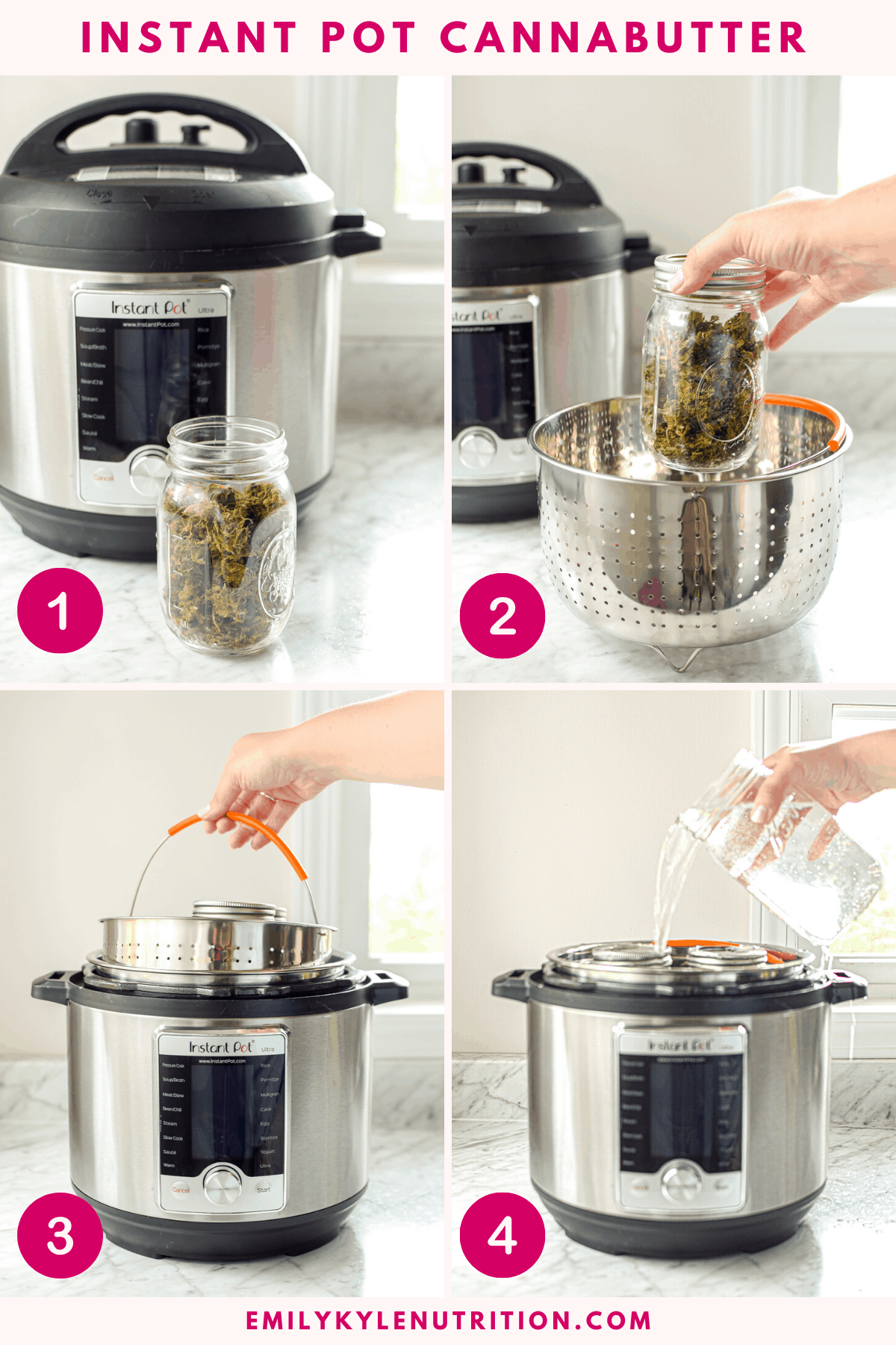 A 4 image collage showing how to decarb in an instant pot to make cannabutter