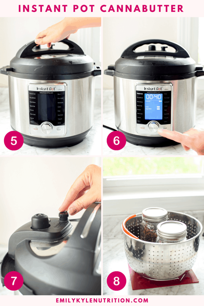 A 4 image collage showing how to set an instant pot to make cannabutter